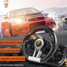 Racing Game Steering Wheel USB Dual Vibration with Foldable Pedal Game Steering Wheel for PC/PS3/PS4/XBOX ONE/SWITCH LF01 1371