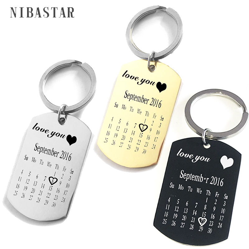 Personalized Customize Engraving  Key Chain Stainless Steel Calendar Highlighted Date Car Logo Plate Number  Anti-lost Keyring