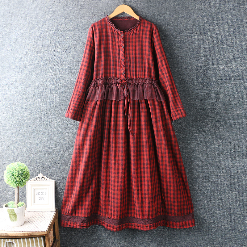 2020 New Spring Dress Small Fresh O Neck Lace Patchwork Plaid Long Dress Loose Cotton Linen Long Sleeve Dress