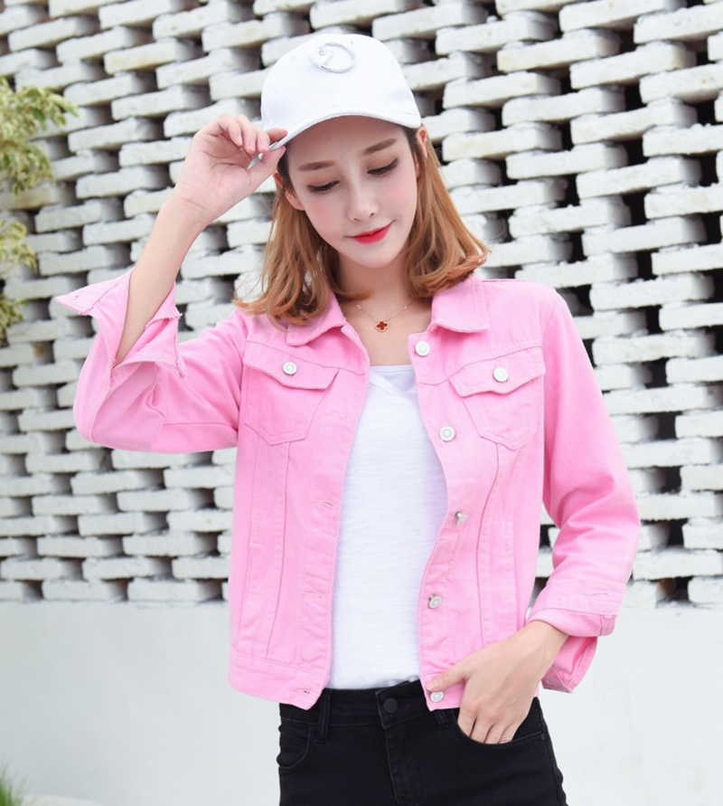H8b98d9d844f148aa9d93a5fb6b0439792 Jeans Jacket and Coats for Women 2019 Autumn Candy Color Casual Short Denim Jacket Chaqueta Mujer Casaco Jaqueta Feminina