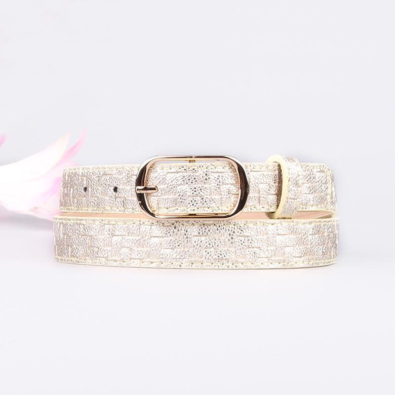 New Women Waist Belts PU Leather Knitted Striped Girl Dress Decorated 105cm Belts Female Fashion Gold Pin Buckle Waistband
