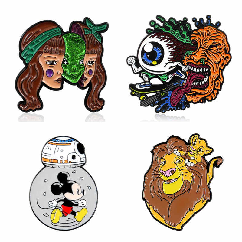 Anime Badges Brooches Decorative Pins For Backpack Lion Brooch Enamel Badges Halloween Pin Metal For Women Cute Mouse Badges Pin