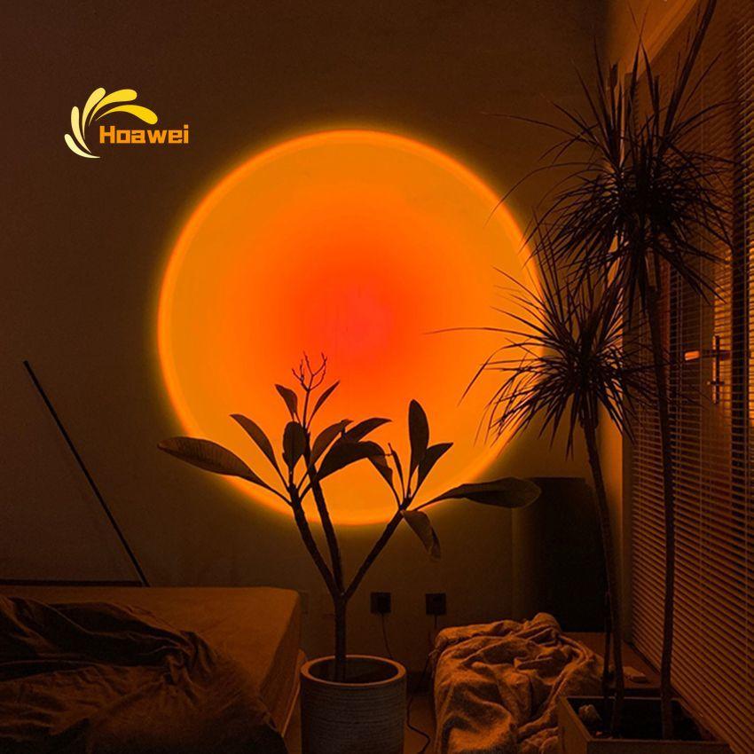 Современная лампа С закатом, комнатное освещение, Напольная Лампа, декор для гостиной, спальни, атмосферные напольные светильники, красочна...