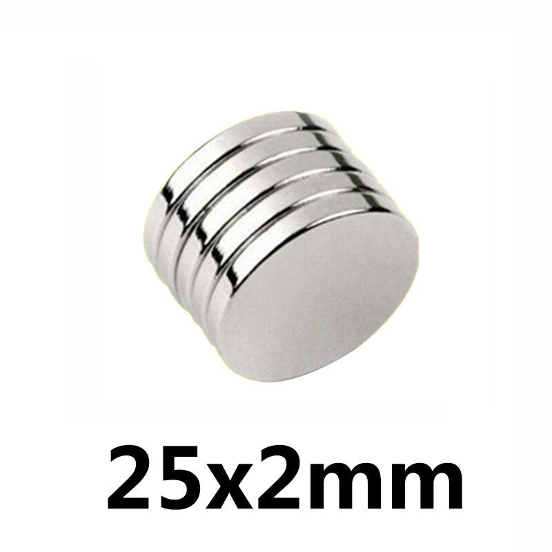 50/100/200 pièces aimants néodyme aimant néodyme 25x2mm N35 petit disque rond Super fort aimants 25*2mm terre Rare puissante