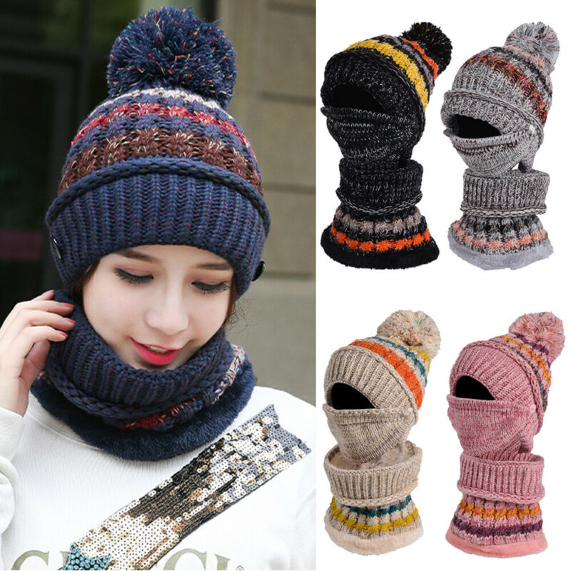 Meihuida Autumn Winter Women Outdoor Soft Knitted Elastic Pom Beanie 3-Set Hat Scarf Mask Neck Casual Thermal Ski Cap