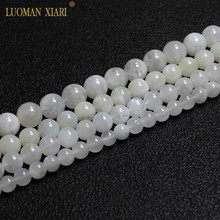 """Fine AAA 100% Natural Moonstone Whit Round Gemstone Beads For Jewelry Making  DIY Bracelet Necklace 6/7/8/9 mm Strand 15"""""""