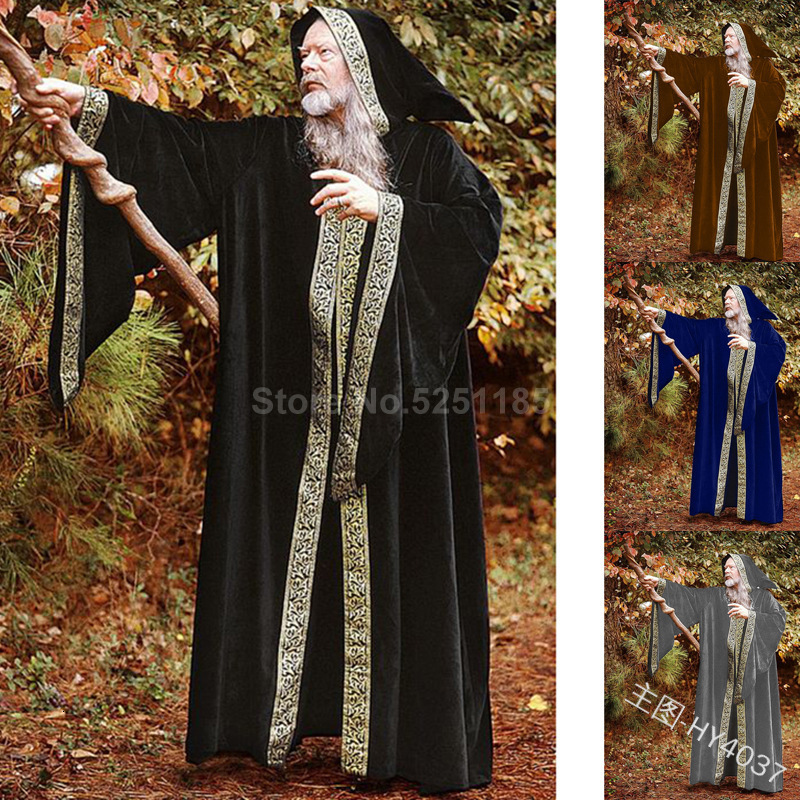 Medieval Renaissance Men Women Monk Mage Robe Rope Cowl Friar Coat Priest Cloak Cape Witch Wizard Gown Halloween Cosplay Costume