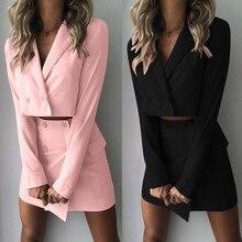 Jacket Tracksuit Skirt Package Two-Piece-Set Women Short Coat Slim-Fit Hip High-Waist