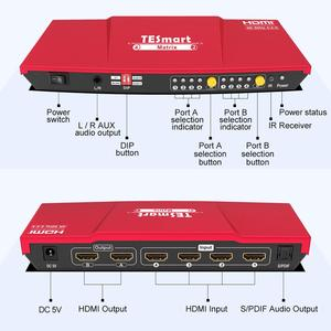 Image 2 - 4K HDMI Matrix 4x2 HDMI Switcher Splitter 4 Ports Input and 2 Ports Output with Analog Stereo(SPDIF) Support 4Kx2K@60HZ HDCP