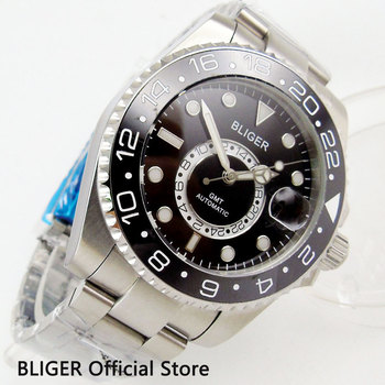 Solid 43MM Black Dial BLIGER Sapphire Crystal Black Ceramic Bezel GMT Function Luminous Marks Automatic Movement Men's Watch