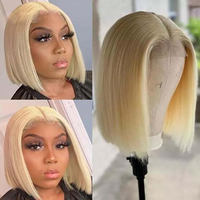 4x4 Lace Closure Blonde Bob Wig 613 Blonde Closure Wig Remy Human Hair Straight Short Bob Wig Middle Part 4x4 Lace Closure Wig 1