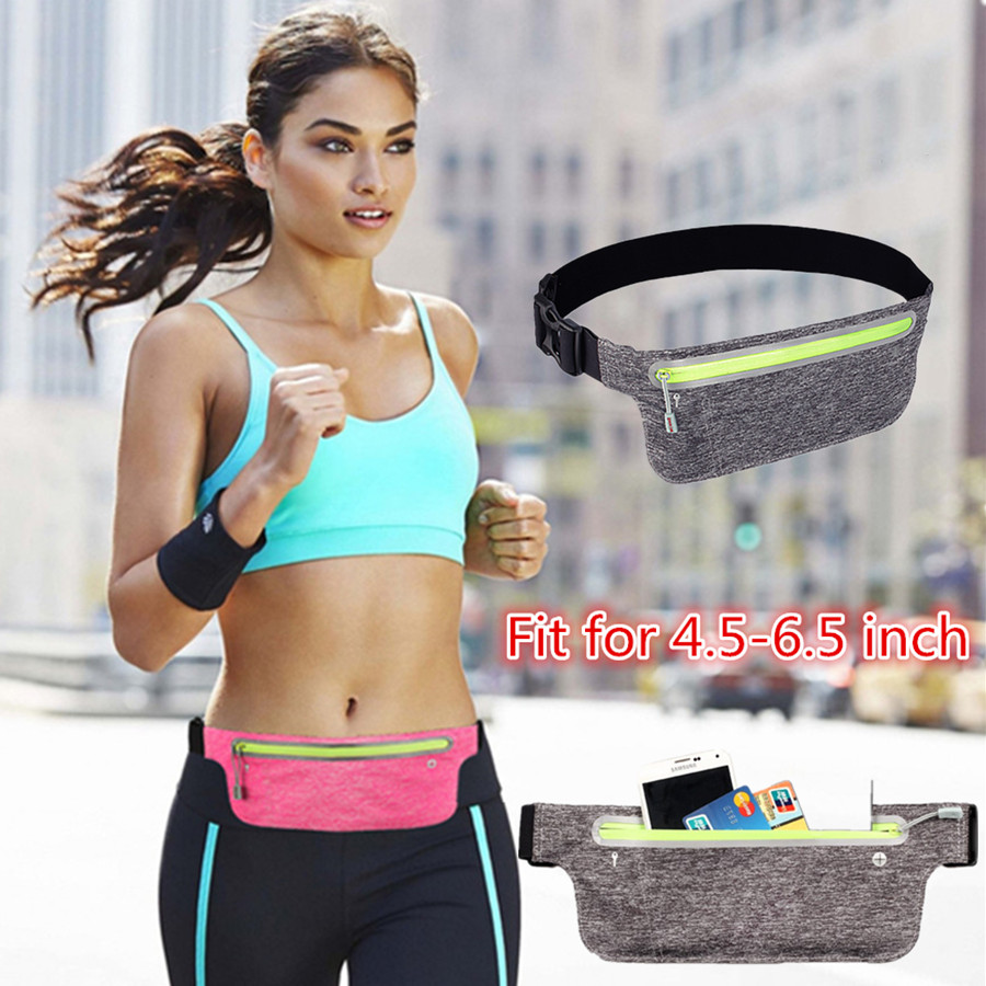 Ultra Thin Waist Bag Men Women Sports Running Bag Gym Waist Belt Pack For iPhone/Samsung Refeltive Strap Mobile Phone Bag EEMIA