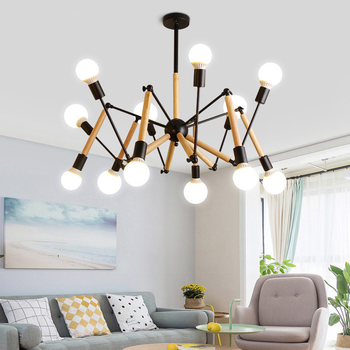 Nordic Wooden chandelier white black light living room decoration led chandeliers 6/8 /12 arms Suspension luminaire Hanging lamp