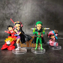 Anime One Piece Monkey D Luffy Roronoa Zoro Nico Robin Chopper PVC Action Figure Collectible Model doll toy 4~9cm (5pcs/set) new 11cm one piece dowin anime figure figurezero luffy chopper zoro toycmodel with opp bag cheaper for sale