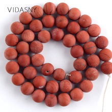 Natural Gem Stone Dull Polished Red Jaspers Round Beads For Jewelry Making 4 6 8 10 12mm Spacer Diy Bracelet Necklace 15