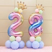 Ballons numérotés arc-en-ciel en aluminium, 32 pouces, couronne à hélium numérique, décoration de mariage, fournitures de fête d'anniversaire, 17 pièces/ensemble