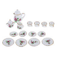Juego de tazas de té de porcelana en miniatura 1:12 15 Uds CON ADORNO dorado casa de muñecas accesorios de cocina