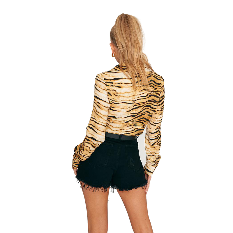Women Ladies Animal Print Loose Long Sleeve Tops Blouses Female Fashion Shirts Blouses Top Clothing OL Blusas Femininas in Blouses amp Shirts from Women 39 s Clothing