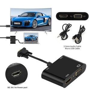 Image 2 - Adaptador VGA a HDMI divisor VGA con convertidor de Audio de 3,5mm soporta pantalla doble para proyector para PC HDTV adaptador VGA multipuerto