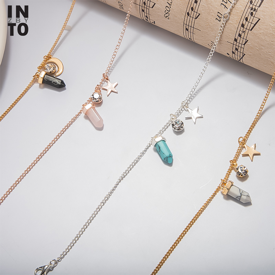 Into Crystal Natural Stone Charm Anklets For Women Moon Star Rose Gold Silver Color Foot Chain Summer Yoga Beach Leg Anklet ZA