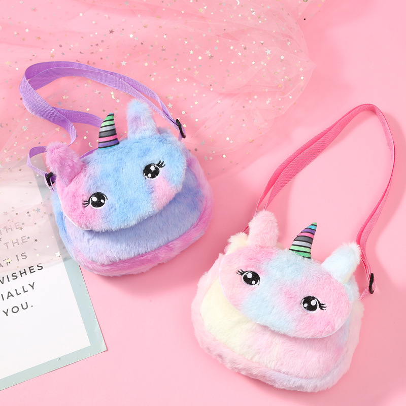 Plush Unicorn Waist Bag Plush Toy Kids Fanny Pack Cartoon Plush Women Belt Bag Fashion Travel Phone Pouch Chest Bag