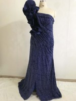 Fashion Dark Navy One Shoulder Bling BLing Ruffled Strap Sheath Prom Dresses