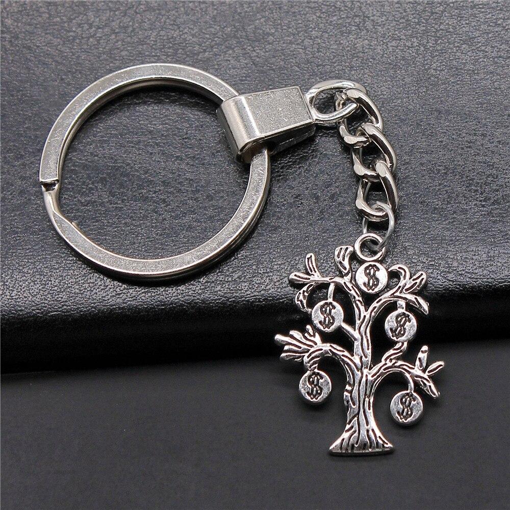 Fashion Antique Silver Color 29x22mm Money Tree Charms Pendants Key Chain Keyring For Men & Women