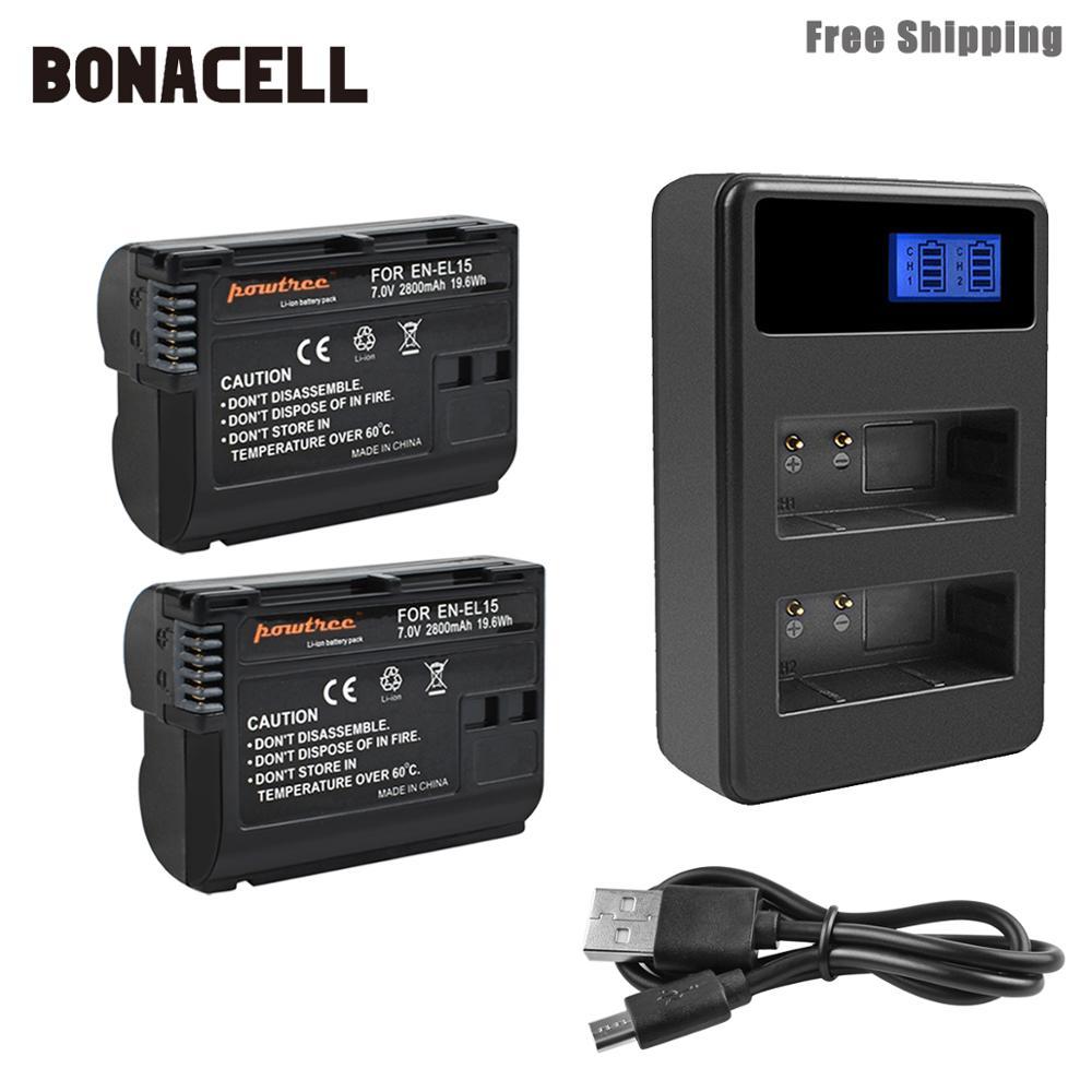 Bonacell 2800mAh EN-EL15 ENEL15 EN EL15 Camera Battery+LCD Dual Charger For Nikon DSLR D600 D610 D800 D800E D810 D7000 D7100 L50