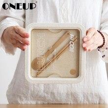 ONEUP pudełko na lunch na słomkę pszenną styl japoński pojemnik taśma uszczelniająca łyżka pałeczki mikrofalowe pudełko na lunch