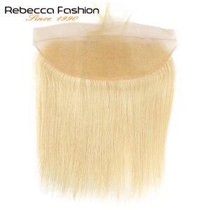 Rebecca бразильские прямые волосы 613 блонд Кружева Фронтальная застежка 13x4 уха до уха фронтальная 100% Remy человеческие волосы Кружева Фронтальна...