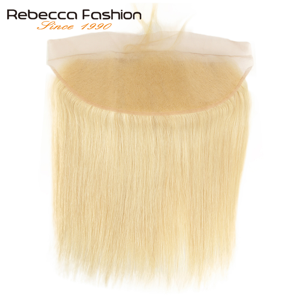 Rebecca Brazilian Straight Hair 613 Blonde Lace Frontal Closure 13x4 Ear To Ear Frontal 100% Remy Human Hair Lace Frontal image