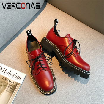 VERCONAS 2020 Fashion Woman Pumps Spring Summer Genuine Leather New Arrival Cross-Tied Round Toe Square High Heeled  Shoes Woman