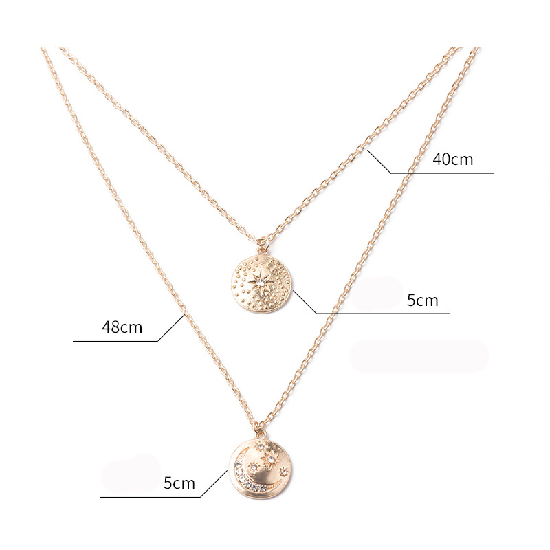 Hello MissNew fashion necklace moon star multi layer personality trend gold coin pendant clavicle chain women 39 s necklace jewelry in Pendant Necklaces from Jewelry amp Accessories