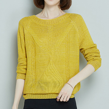 Sweaters Fashion 2019 Autumn New Womens Loose knitted Sweater solid Color Pullover Woman Tops Winter clothes 930i6