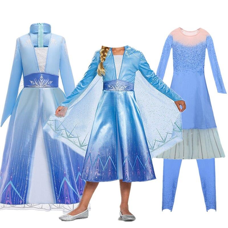 Nova neve 2 vestido de natal crianças halloween carnaval elza traje meninas cristal luz azul manga longa princesa vestido