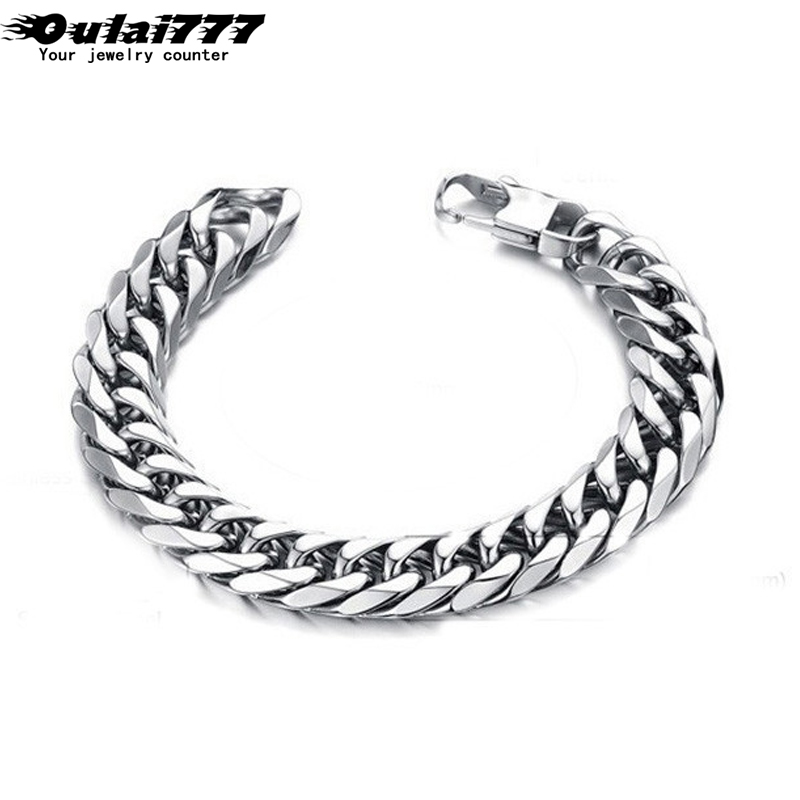 2019 Delicate polishing stainless steel men <font><b>bracelet</b></font> hip hop style gifts mens male curb cuban link <font><b>chain</b></font> on <font><b>hand</b></font> <font><b>chain</b></font> <font><b>bracelets</b></font> image