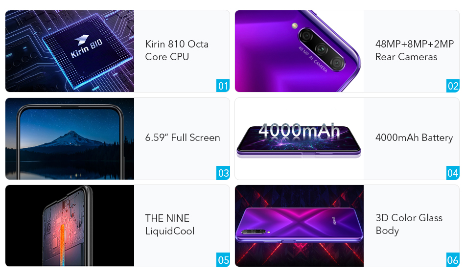 Honor 9X Pro 8GB 128GB 256GB Kirin 810 Liquid Cool Smartphone 48MP Triple Camera 6.59 Auto Pop Up Camera cellphone (1)
