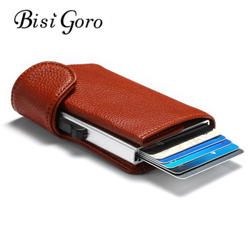 BISI GORO 2020 Metal RFID Credit Card Holder Men Business ID Card Case Automatic RFID Card Wallet Aluminium Bank Card Wallets bisi goro rfid aluminium alloy credit card holder pu leather card wallet card holder for men women automatic pop up card case