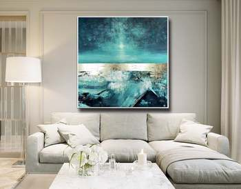 Soft Dance Large Abstract Painting Square Living Room Art Teal Blue Gold Turquoise Original Painting Modern Art Home Decor