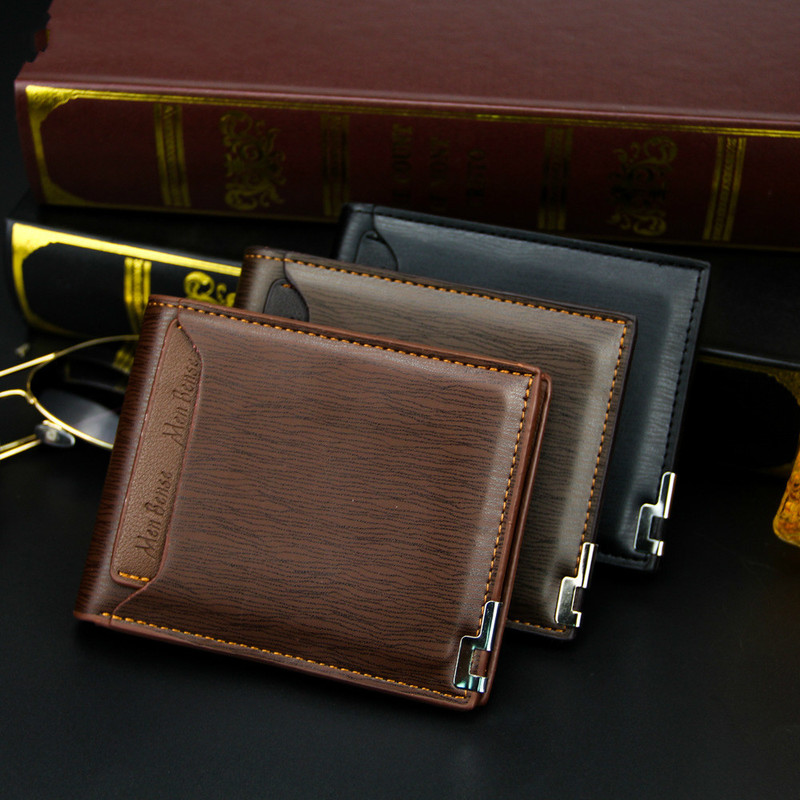 Men Wallet Leather Card Holder Fashion New Card Purse Fashion Multifunction for Credit Cards Male Iron Edge Billetera Hombre 2
