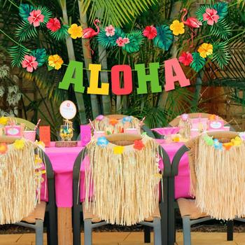 QIFU Hawaii ALOHA Happy Birthday Banner Flamingo Hawaiian Tropical Party Decor Holiday Summer Party Luau Aloha Party Supplies summer tropical luau party banner bunting garlands hawaiian beach theme birthday party diy decoration flamingo party palm leaves