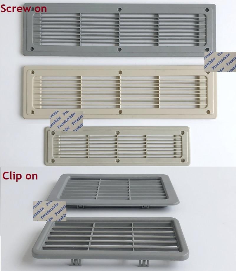 2Pcs/Lot  Clip Screw On Beige Grey Rectangle Plastic Air Vent Grille Cabinet RV Caravan