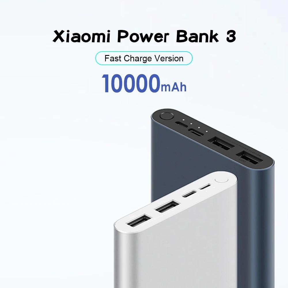 Banco de energía Original Xiaomi 10000mAh, 3 USB C, 18W, dos vías, carga rápida, salida Dual, Powerbank Mi para teléfono móvil|Cargador portátil| - AliExpress