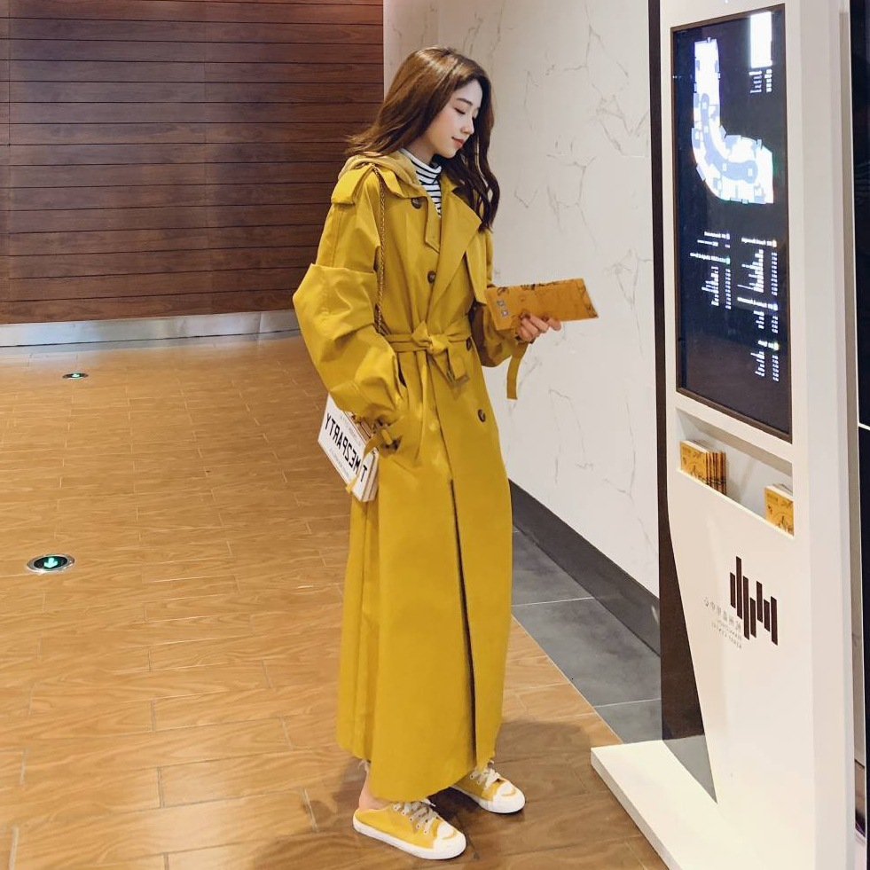 Yellow Hooded Trench Coat Women Clothes Fashion Casual Outwear Overknee Windbreaker Removable Hoodie Loose Coats Tied With Belt