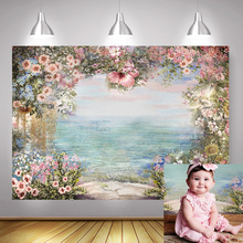 Photography Backdrop Newborn Baby Birthday Photocall Floral Children Portrait Background Vintage Oil Painted Photo Shoot Props pastel pink color princess baby girl photo shoot background printed flowers newborn photography props kids portrait backdrops