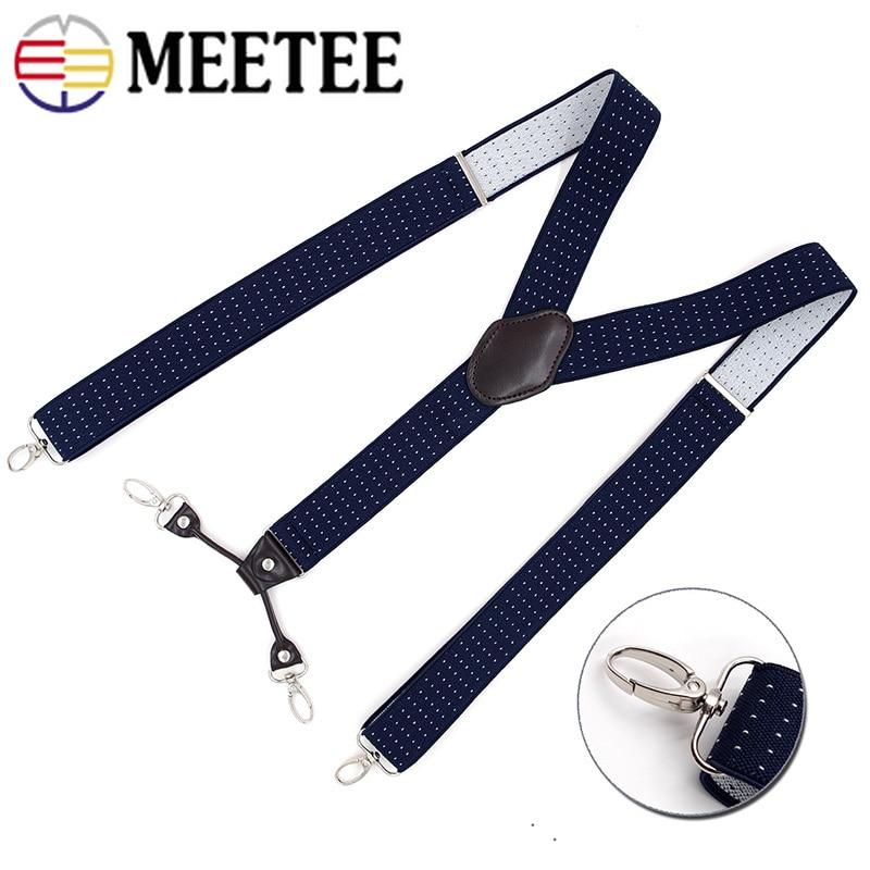 Deepeel 1pc 3.5X120cm Men Suspenders Metal Sanp Hook Strap Adult Jacquard 4 Clip Buckles Suspenders Leisure Suit Decor SP042