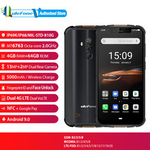"Ulefone armadura 5S versão global impressão digital rosto desbloquear telefone móvel 5000 mah android 9.0 ip68 nfc 5.85 ""4 gb + 64 gb 4g smartphone"