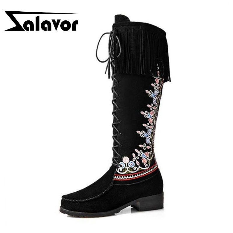 ZALAVOR Size 34-43  Real Leather Winter Shoes Women Med Heel Knee High Winter Boots For Women Embroidery National Style Botas