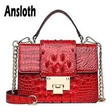 купить Ansloth Crocodile Design Shoulder Bag Women Small Lock Crossbody Bag Lady Chain Handbag Female PU Leather Messenger Bag HPS661 по цене 1365.8 рублей