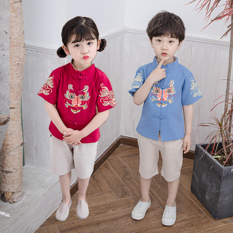 Children Chinese Costume Chinese Clothing 2019 Summer Men And Women Children Wind Printed Short Sleeve Two-Piece Set Baby Chines